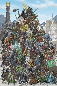 The Lord of the Rings: Mountains of Mayhem Print. This makes me want a 'Where's Wally?' LOTR edition...