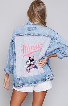 Vintage Classic Minnie Denim Jacket Cute Disney Outfits, Painted Denim Jacket, Painted Clothes, Disney Shirts, Textiles, Disney Style, Festival Outfits, Custom Clothes, Ideias Fashion