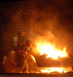 #firefighter in action - Roof Operations