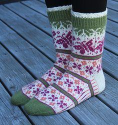 Ravelry: Summer Dream - Sommerdrøm pattern by Aud Bergo Crochet Socks, Knitting Socks, Knit Crochet, Knit Stockings, Fair Isle Knitting, Summer Patterns, Baby Socks, Sock Yarn, Bearpaw Boots
