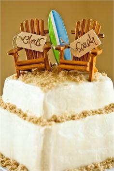 beachy wedding cake, custom surfboard and beach adirondack cake topper, yellow and pink beach wedding, Macon Photography