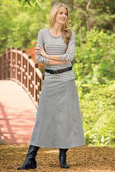 Long A-Line Corduroy Skirt Misses   Chadwicks