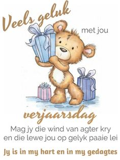 Funny Happy Birthday Song, Happy Birthday Wishes, Wees, Custard Recipes, Afrikaans Quotes, Birthday Messages, Birthday Pictures, Deep Thoughts, Winnie The Pooh