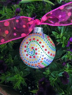 Rainbow Ornament - Zentangle-Inspired Personalized for Wedding, Birthday or Christmas - Handpainted