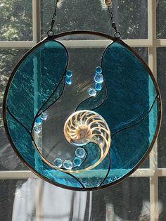 Nautilus Shell v.3 - For KMK Glass Painting Designs, Paint Designs, Stained Glass Projects, Stained Glass Patterns, Stained Glass Panels, Stained Glass Art, Stained Glass Christmas, Nautilus Shell, Stained Glass Suncatchers