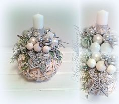 ...: Christmas Ornament Crafts, Christmas Candles, Christmas Centerpieces, Xmas Decorations, Holiday Crafts, Christmas Wreaths, Christmas Flower Arrangements, Theme Noel, Diy And Crafts
