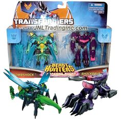 """Hasbro Year 2013 Transformers Prime """"Beast Hunters - Predacon Rising"""" Series Exclusive 2 Pack 4 Inch Tall Commander Class Robot Action Figure - Predacon BOMBSHOCK (Beast Mode: Hercules Beetle) and Decepticon SHOCKWAVE (Vehicle Mode: Cybertronian Tank) Plus 2 Missiles"""