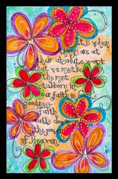 art journaling- doodle flowers & text.