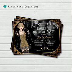 Printable Sweet 16 party invitation. Great Gatsby Birthday Party Invitation. Birthday celebration invite. Black and gold bling. AB20