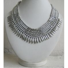 Silver Necklace/Statement Necklace/Bib by FootSoles on Etsy, $29.80