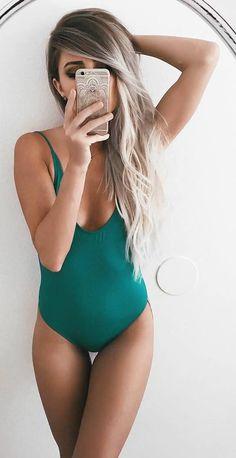 beautiful green monokini
