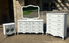 Beautiful Vintage French Provincial Bedroom Set refinished in Annie Sloan Pure White, clear wax and distressed by VintageSoulTN/facebook.com
