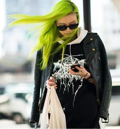 Eriko Nakao with her striking neon green hair | Style Muse |