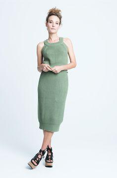 sara bailes x knit crop top x knit skirt x green