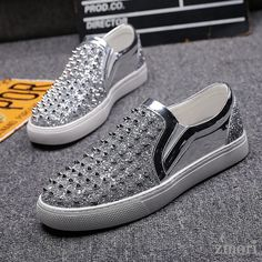 Silver Spikes Glittering Bling Bling Punk Slip On Loafers Sneakers Mens Shoes, Material: Faux Leather Outer, Rubber Sole Width: Medium Loafer Sneakers, Grey Sneakers, Grey Shoes, Loafers Men, Bling Shoes, Men's Shoes, Shoes Style, Bling Bling, Mens Fashion Shoes