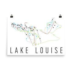 Lake Louise Ski Map Art, Lake Louise Alberta, Lake Louise Trail Map, Lake Louise Ski Resort Print, Lake Louise Poster, Lake Louise Art, Gift