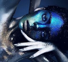 Blue and silver glitter makeup
