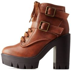 Charlotte Russe Chestnut Lug Sole Platform Combat Booties by Charlotte... ($46) ❤ liked on Polyvore featuring shoes, boots, ankle booties, chestnut, ankle boots, bamboo boots, platform ankle booties, short boots and platform booties