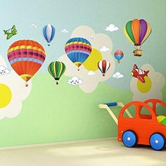 Amaonm Removable Creative Hot air Balloon Aircraft and Smile Clouds Wall Decals Kids Room Wall Decorations Art Decor Stickers Nursery Decor Art Decal Bedroom Bathroom Sticker. The size of each hot air balloon: Kids Room Wall Decals, Nursery Wall Stickers, Removable Wall Stickers, Room Wall Decor, Nursery Decor, Bedroom Wall, Bed Room, Kids Bedroom, Bedroom Decor