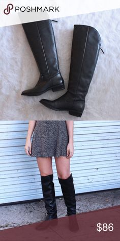 """Sole Society Over the Knee Leather Boots in Black These Sole Society 'Andie' boots are in great condition. A few scuffs and wear on the soles. Back zip closure. Approx 1"""" heel and 20"""" shaft. Leather upper with man made sole. No trades but make me an offer! Sole Society Shoes Over the Knee Boots"""