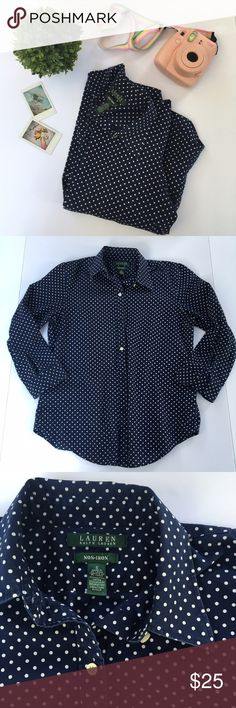 ralph lauren  navy polka dot button down shirt navy & white polka dot button down shirt by Ralph Lauren. size small, excellent condition. 3/4 length sleeves with slits.  I am professional ballerina making some extra income. I am open to offers/negotiations on prices, just keep in mind poshmark does take 20%. I am not responsible for wrong fit/not reading the descriptions. ask questions if you aren't sure, i respond right away. thank you for shopping!  Ralph Lauren Tops Button Down Shirts