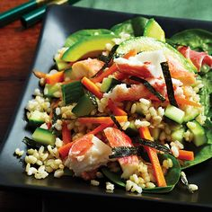 Sushi Salad by cleaneatingmag: Unrolling the quintessential flavors of your favorite sushi platter, this low-cal sushi salad includes brown rice, silky avocado, tender crab and seaweed. #Salad #Sushi