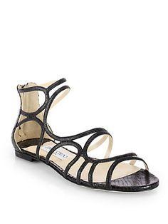 Jimmy Choo - Sutri Glitter & Snakeskin Strappy Sandals - Saks.com