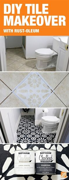 Bloggers Mallory and Savannah from Classy Clutter used Rust-Oleum Chalked Paint in Charcoal and White Linen, stencils, and a little creativity to give their bathroom an affordable DIY tile transformation. Click to see the step-by-step tutorial on our blog.  #HomeRemodeling