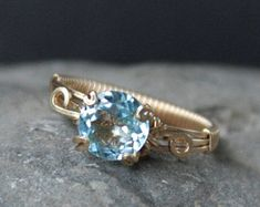Wirewrapped Sky Blue Beauty Topaz Gemstone ring stacking Ring made to order