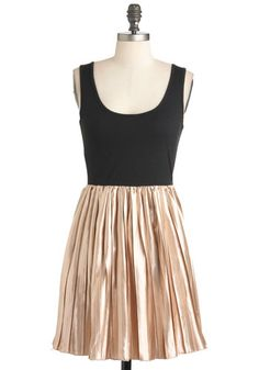 Darling Duet Dress - Black, Party, Twofer, Tank top (2 thick straps), Mid-length, Gold, Pleats, Holiday Party, Scoop