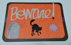 Halloween Card, Silhouette Cameo, Beware! Cat