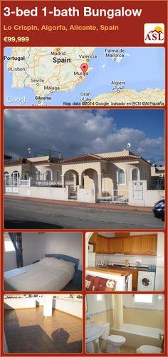 Bungalow for Sale in Lo Crispin, Algorfa, Alicante, Spain with 3 bedrooms, 1 bathroom - A Spanish Life Valencia, Portugal, Bungalows For Sale, Alicante Spain, Murcia, Spanish, Villa, Bath, Mansions