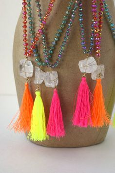 Neon Tassel Necklace by PCoqPlayhouse on Etsy