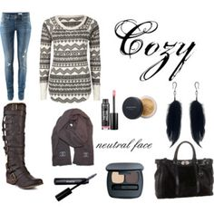 made this on polyvore:)  this is everything i would wear! thermals, boots and my bare minerals!