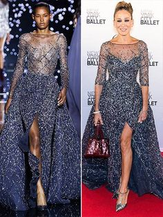 High-Fashion Faceoff: See These Looks Go From the Runway to the Red Carpet Love Fashion, Runway Fashion, High Fashion, Fashion Show, Tea Length Dresses, Blue Dresses, Celebrity Red Carpet, Celebrity Style, Navy Gown