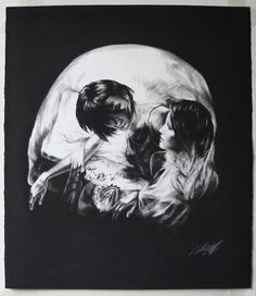 """Charcoal Skull Illusions - Newcastle artist Tom French has a skill for figurative drawing. Carefully, he combines photorealism and surrealism to create beautiful charcoal drawings...of skulls! His profile on Flickr shares, """"French's work often treads the fine line between the beautiful and unsettling, combining technically tight, classical charcoal drawings with carefree, loose and ostensibly unfinished abstract forms."""" What do you think of these daring pieces?"""