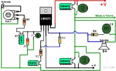dibujo del LM1875 con fuente dual Hobby Electronics, Electronics Basics, Cool Electronics, Electronics Projects, Electronic Circuit Projects, Electronic Engineering, Rcf Audio, Surround Sound Amplifier, Diy Bluetooth Speaker