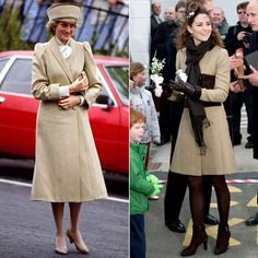 Princess Diana wore a neutral A-line coat and hat while in Coventry for a charity visit in 1985. In 2011, Kate wore the same classic look for to an event in Wales.
