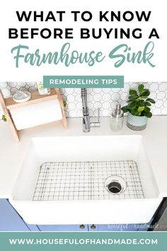 If you want a large apron front sink in your kitchen, you'll want to read these things to know before buying a farmhouse sink. It's been over a year since we finished our Blue & White two toned kitchen remodel. Even though it was a big job, I have never regretted the craziness that is a kitchen remodel. One of the big elements we added to our kitchen was a large farmhouse sink. #FarmhouseSink #KitchenDesign #KitchenRemodel