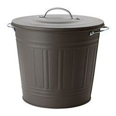 IKEA - KNODD, Bin with lid, gray, 4 gallon, , Easy to fill up and empty as you can secure the lid on the edge of the bin.Can be used anywhere in your home, even in damp areas like the bathroom and under covered balconies.