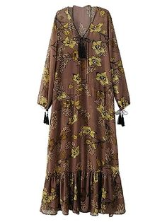 Shop Coffee V-neck Floral Tassel Tie Detail Ruffle Sheer Maxi Dress from choies.com .Free shipping Worldwide.$24.9