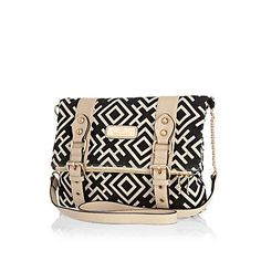 Black geometric print cross body bag $50.00
