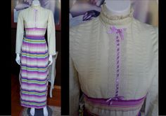 Vintage 1960s 1970s PEGGY BARKER Long Victorian Style Prairie Maxi Dress Cream With Purple Green Stripes Steampunk by WestCoastVintageRSL, $62.00