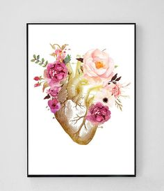 Human Heart Anatomy Art Print by enorasis Doctors Office Decor, Doctor Office, Nurse Office Decor, Therapist Office Decor, Heart Anatomy, Anatomy Art, Human Anatomy, Anatomy Drawing, Medical Design