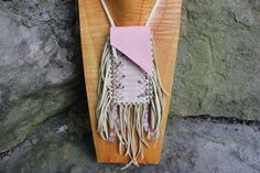 "Small Pink Deer Leather Medicine Bag with Boa Snake Skin, with Rose Quartz, Cherry Quartz, Pink Opal Gemstone Beads, along with Buffalo Bone Beads Bag Dimensions 2"" x 4"" with 8"" Leather Necklace Strap"