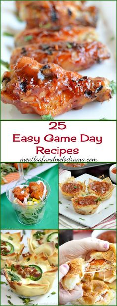 25 Easy Game Day Recipes -- appetizers, snacks and finger food for football parties, tailgating or to enjoy at home