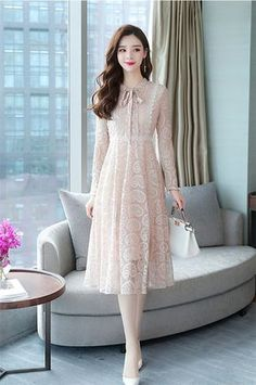 M-XXL Solid Color Long-sleeved Lace Dress 2018 Women's Autumn Gown Sweet Bow Collar Vintage Robe High Waist Slim Party Vestido Stylish Dresses, Simple Dresses, Elegant Dresses, Cute Dresses, Vintage Dresses, Beautiful Dresses, Casual Dresses, Fashion Dresses, Lace Dress