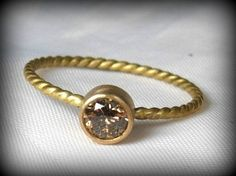 Chocolate diamond ring,  engagement ring, diamond and  yellow gold ring , stacking ring, April birthstone ring