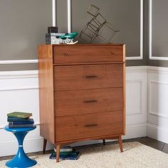 Mid-Century 4-Drawer Dresser - Acorn #westelm Would look great in the master.
