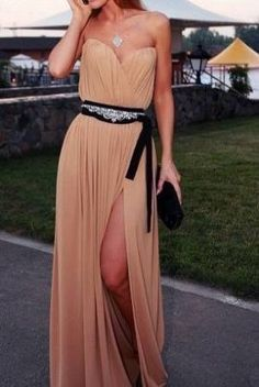 This is a perfect example of brides maids long dress, easily dressed up with a simple sequenced belt and clutch that will then become re-wearable!! Im not saying this dress was previously a brides maids dress but there are some that are being more commonly used in weddings at this length and cut. Love it!!
